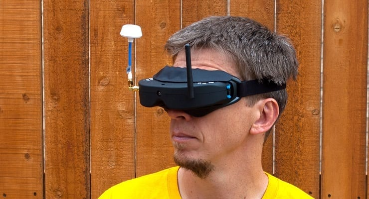 Man Wearing FPV Goggles